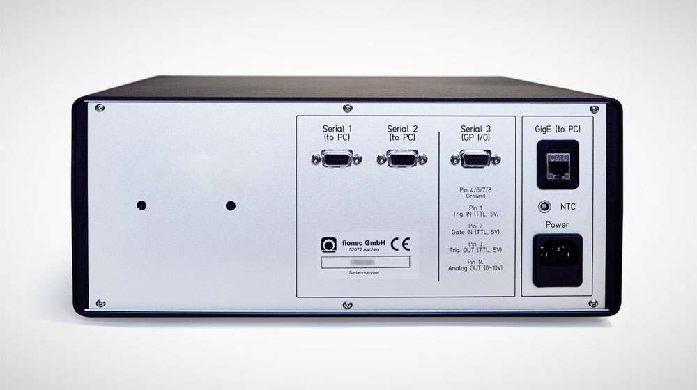 Fiber-optic distance measuring system FDM-1 rear view featuring interfaces